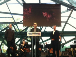 Brett Aplin on stage at the 2012 Screen Music Awards